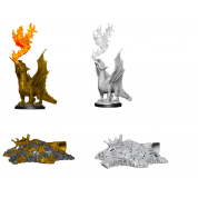 D&D Nolzur's Marvelous Miniatures - Gold Dragon Wyrmling & Small Treasure Pile (6 Units)