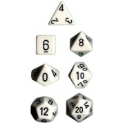 Chessex Opaque Polyhedral 7-Die Sets - White w/black