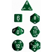 Chessex Opaque Polyhedral 7-Die Sets - Green w/white