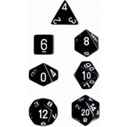 Chessex Opaque Polyhedral 7-Die Sets - Black w/white