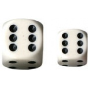 Chessex Opaque 16mm d6 with pips Dice Blocks (12 Dice) - White w/black