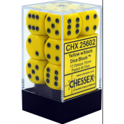 Chessex Opaque 16mm d6 with pips Dice Blocks (12 Dice) - Yellow w/black
