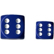 Chessex Opaque 16mm d6 with pips Dice Blocks (12 Dice) - Blue w/white