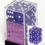 Chessex Opaque 16mm d6 with pips Dice Blocks (12 Dice) - Purple w/white
