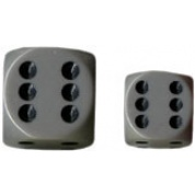 Chessex Opaque 16mm d6 with pips Dice Blocks (12 Dice) - Grey w/black