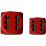 Chessex Opaque 16mm d6 with pips Dice Blocks (12 Dice) - Red w/black