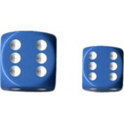 Chessex Opaque 16mm d6 with pips Dice Blocks (12 Dice) - Light Blue w/white