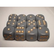 Chessex Opaque 16mm d6 with pips Dice Blocks (12 Dice) - Dark Grey w/copper