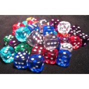 Chessex Translucent Bags of 50 Dice - Bag of 50 Asst. Loose Trans. 16mm d6 w/pips Dice