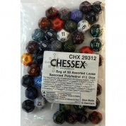 Chessex Speckled Bags of 50 Asst. Dice - Loose Speckled Polyhedral d12 Dice