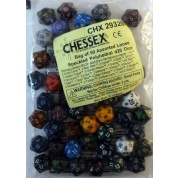 Chessex Speckled Bags of 50 Asst. Dice - Loose Speckled Polyhedral d20 Dice