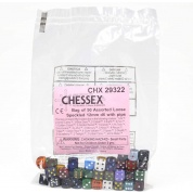 Chessex Speckled Bags of 50 Asst. Dice - Loose Speck. 12mm d6 w/pips Dice