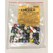 Chessex Opaque Bags of 50 Asst. Dice	 - Loose Opaque 12mm d6 w/pips Dice