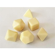 Chessex Opaque Polyhedral Set of 6 blank dice - Opaque Polyhedral Ivory Set of 6 blank dice