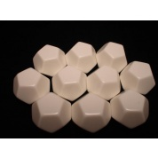 Chessex Opaque Polyhedral Bag of 10 Blank dice - Opaque Polyhedral White Bag of 10 Blank 12-sided dice