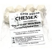 Chessex Opaque Polyhedral Bag of 10 Blank dice - Opaque Polyhedral White Bag of 10 Blank 20-sided dice