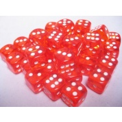 Chessex Translucent 12mm d6 with pips Dice Blocks (36 Dice) - Orange w/white