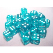 Chessex Translucent 12mm d6 with pips Dice Blocks (36 Dice) - Teal w/white