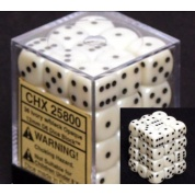 Chessex Opaque 12mm d6 with pips Dice Blocks (36 Dice) - Ivory w/black
