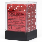 Chessex Opaque 12mm d6 with pips Dice Blocks (36 Dice) - Red w/white