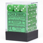 Chessex Opaque 12mm d6 with pips Dice Blocks (36 Dice) - Green w/white