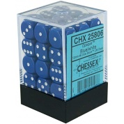 Chessex Opaque 12mm d6 with pips Dice Blocks (36 Dice) - Blue w/white