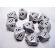 Chessex Opaque Polyhedral Ten d10 Set - Grey/black