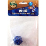 PolyHero 1d20 Orb - Lapis Lazuli with Glittering Gold