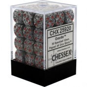 Chessex Speckled 12mm d6 Dice Blocks with Pips (36 Dice) - Granite