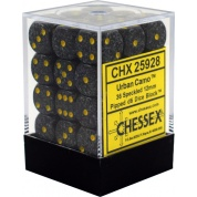 Chessex Speckled 12mm d6 Dice Blocks with Pips (36 Dice) - Urban Camo