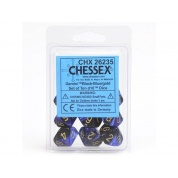 Chessex Gemini Polyhedral Ten d10 Sets - Black-Blue w/gold