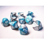 Chessex Gemini Polyhedral Ten d10 Sets - Steel-Teal w/white