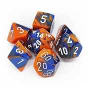 Chessex Gemini Polyhedral 7-Die Set - Blue-Orange w/white