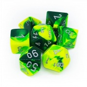 Chessex Gemini Polyhedral 7-Die Set - Green-Yellow w/silver