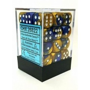 Chessex Gemini 12mm d6 Dice Blocks with pips Dice Blocks (36 Dice) - Blue-Gold w/white