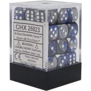 Chessex Gemini 12mm d6 Dice Blocks with pips Dice Blocks (36 Dice) - Blue-Steel w/white
