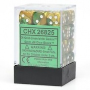 Chessex Gemini 12mm d6 Dice Blocks with pips Dice Blocks (36 Dice) - Gold-Green w/white