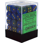 Chessex Gemini 12mm d6 Dice Blocks with pips Dice Blocks (36 Dice) - Blue-Green w/gold