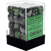 Chessex Gemini 12mm d6 Dice Blocks with pips Dice Blocks (36 Dice) - Black-Grey w/green