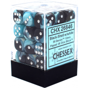 Chessex Gemini 12mm d6 Dice Blocks with pips Dice Blocks (36 Dice) - Black-Shell w/white