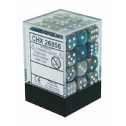 Chessex Gemini 12mm d6 Dice Blocks with pips Dice Blocks (36 Dice) - Steel-Teal w/white