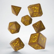 Steampunk Brown & yellow Dice Set (7)