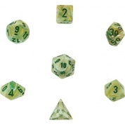 Chessex Marble 7-Die Set - Green w/dark green