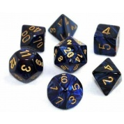 Chessex Scarab 7-Die Set - Royal Blue w/gold