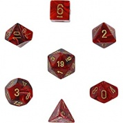 Chessex Vortex 7-Die Set - Burgundy w/gold