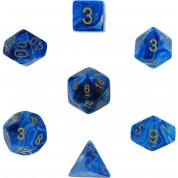 Chessex Vortex 7-Die Set - Blue w/gold