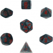 Chessex Velvet 7-Die Set - Black w/red