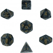Chessex Lustrous 7-Die Set - Black w/gold