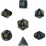 Chessex Lustrous 7-Die Set - Shadow w/gold