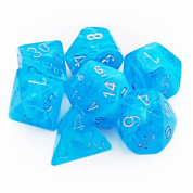 Chessex Luminary Polyhedral 7-Die Set - Sky w/silver